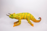 Jackson, the three species chameleon. Post-use material, air hardening clay and glass beads.