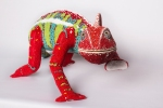 Panther chameleon. Post-use material, air hardening clay and glass beads.
