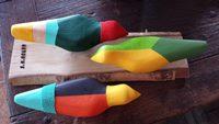 Multicolor trio of birdies.