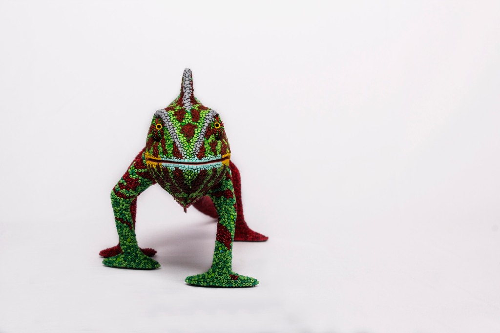 A Chameleon at Harvard. Donation (2015) to Harvard University. Post-use material, air hardning clay and glass beads.