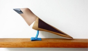 Blue-footed booby made out of post-natural-disaster wood.