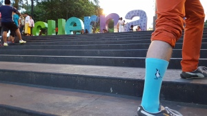 Davit Nava in his blue-footed booby socks, downtown Cuernavaca, Mexico.
