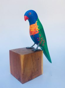 Coconut Lorikeet, Trichoglossus haematodus, made out of reclaimed wood.